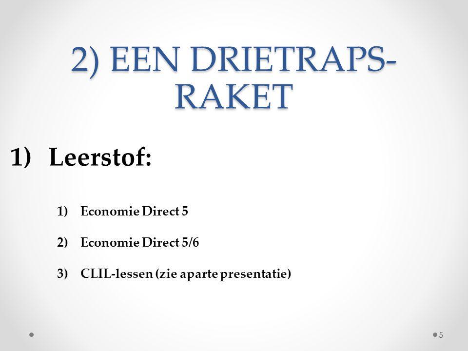 2) EEN DRIETRAPS- RAKET 1)Leerstof: 1)Economie Direct 5 2)Economie Direct 5/6 3)CLIL-lessen (zie aparte presentatie) 5