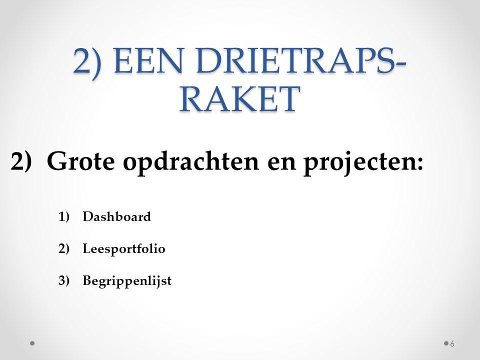 2) EEN DRIETRAPS- RAKET 2) Grote opdrachten en projecten: 1)Dashboard 2)Leesportfolio 3)Begrippenlijst 6