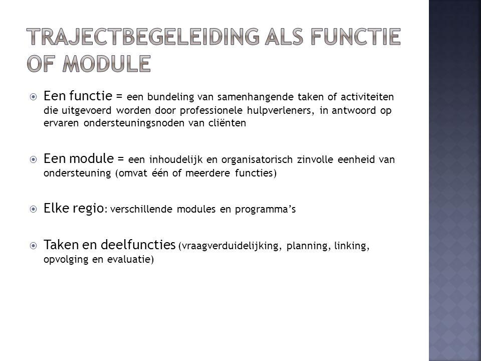  Een functie = een bundeling van samenhangende taken of activiteiten die uitgevoerd worden door professionele hulpverleners, in antwoord op ervaren ondersteuningsnoden van cliënten  Een module = een inhoudelijk en organisatorisch zinvolle eenheid van ondersteuning (omvat één of meerdere functies)  Elke regio : verschillende modules en programma's  Taken en deelfuncties (vraagverduidelijking, planning, linking, opvolging en evaluatie)