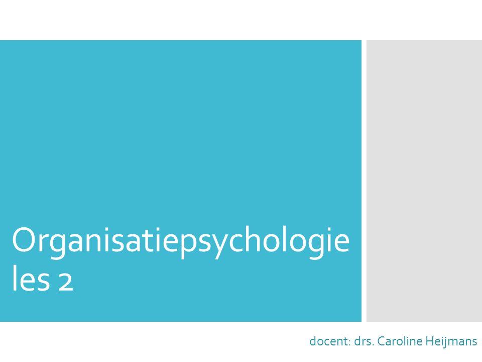 Organisatiepsychologie les 2 docent: drs. Caroline Heijmans