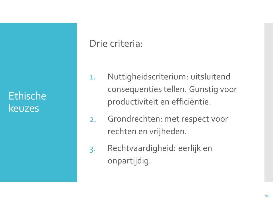 10 Ethische keuzes Drie criteria: 1.Nuttigheidscriterium: uitsluitend consequenties tellen.