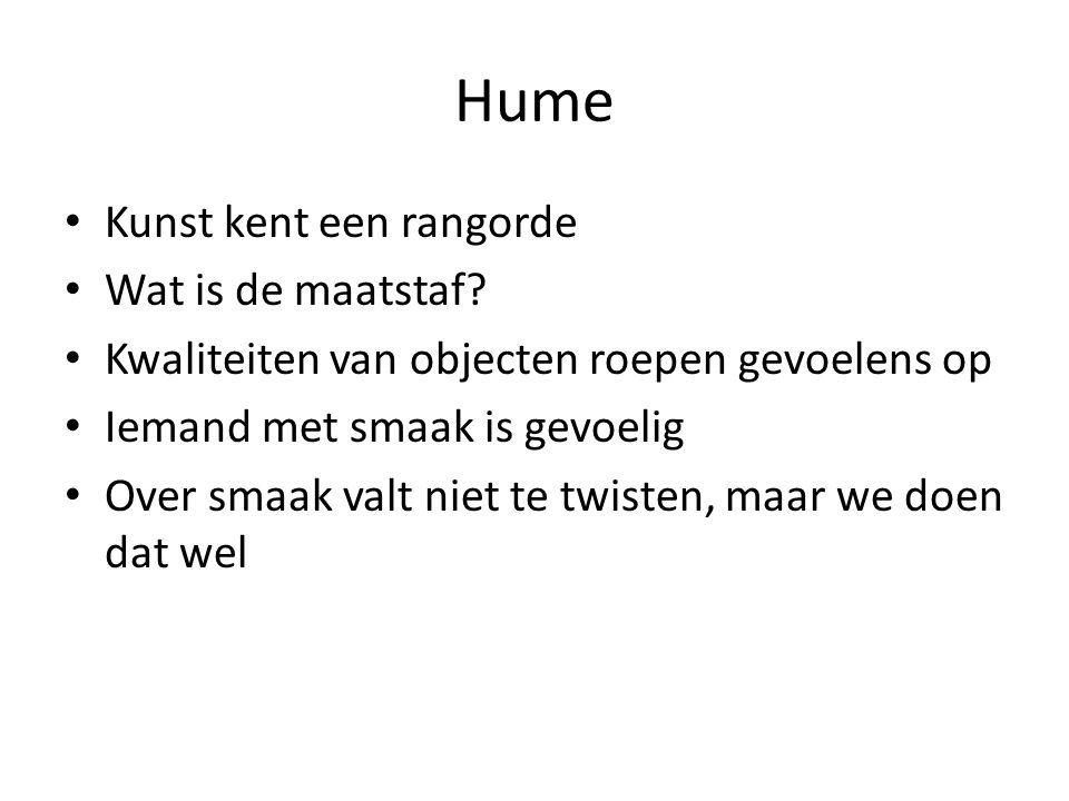 Hume Kunst kent een rangorde Wat is de maatstaf.