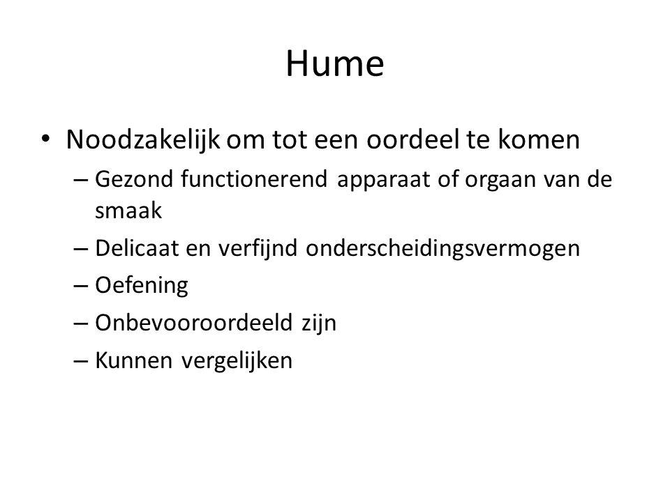 Hume Noodzakelijk om tot een oordeel te komen – Gezond functionerend apparaat of orgaan van de smaak – Delicaat en verfijnd onderscheidingsvermogen – Oefening – Onbevooroordeeld zijn – Kunnen vergelijken