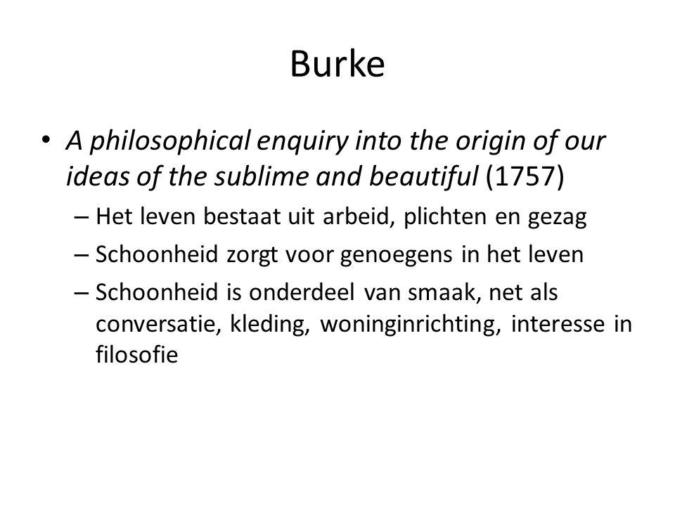 Burke A philosophical enquiry into the origin of our ideas of the sublime and beautiful (1757) – Het leven bestaat uit arbeid, plichten en gezag – Schoonheid zorgt voor genoegens in het leven – Schoonheid is onderdeel van smaak, net als conversatie, kleding, woninginrichting, interesse in filosofie