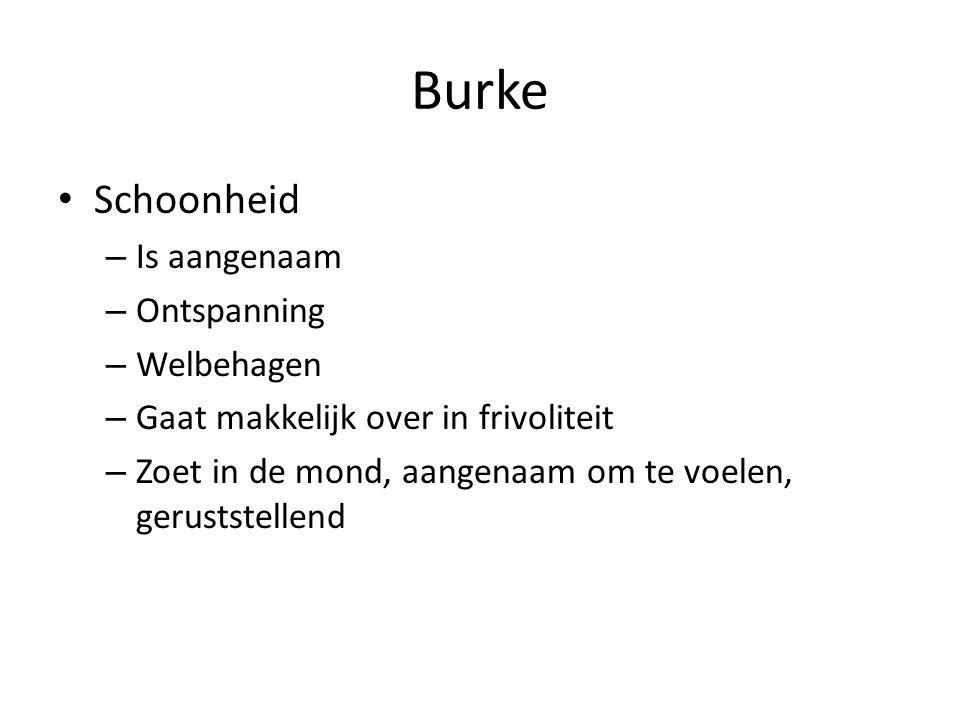 Burke Schoonheid – Is aangenaam – Ontspanning – Welbehagen – Gaat makkelijk over in frivoliteit – Zoet in de mond, aangenaam om te voelen, geruststellend