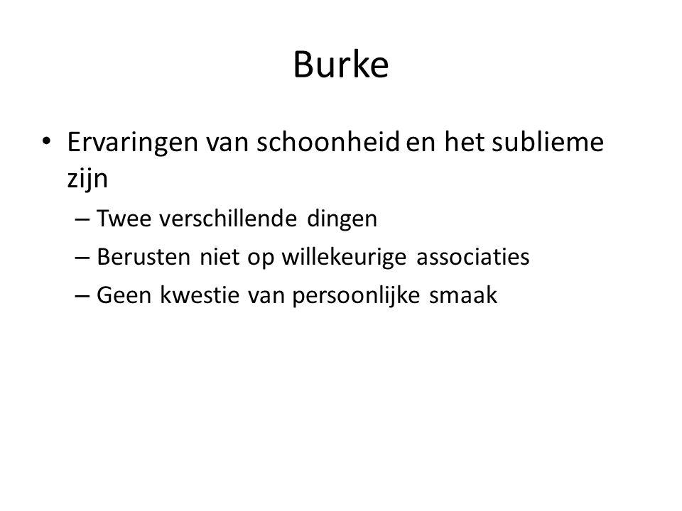 Burke Ervaringen van schoonheid en het sublieme zijn – Twee verschillende dingen – Berusten niet op willekeurige associaties – Geen kwestie van persoonlijke smaak