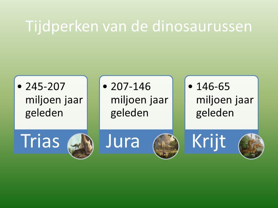 Tijdperken van de dinosaurussen 245-207 miljoen jaar geleden Trias 207-146 miljoen jaar geleden Jura 146-65 miljoen jaar geleden Krijt