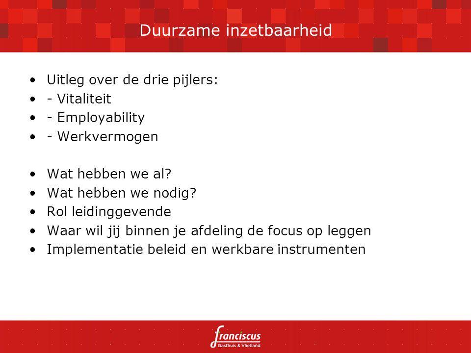 Uitleg over de drie pijlers: - Vitaliteit - Employability - Werkvermogen Wat hebben we al.
