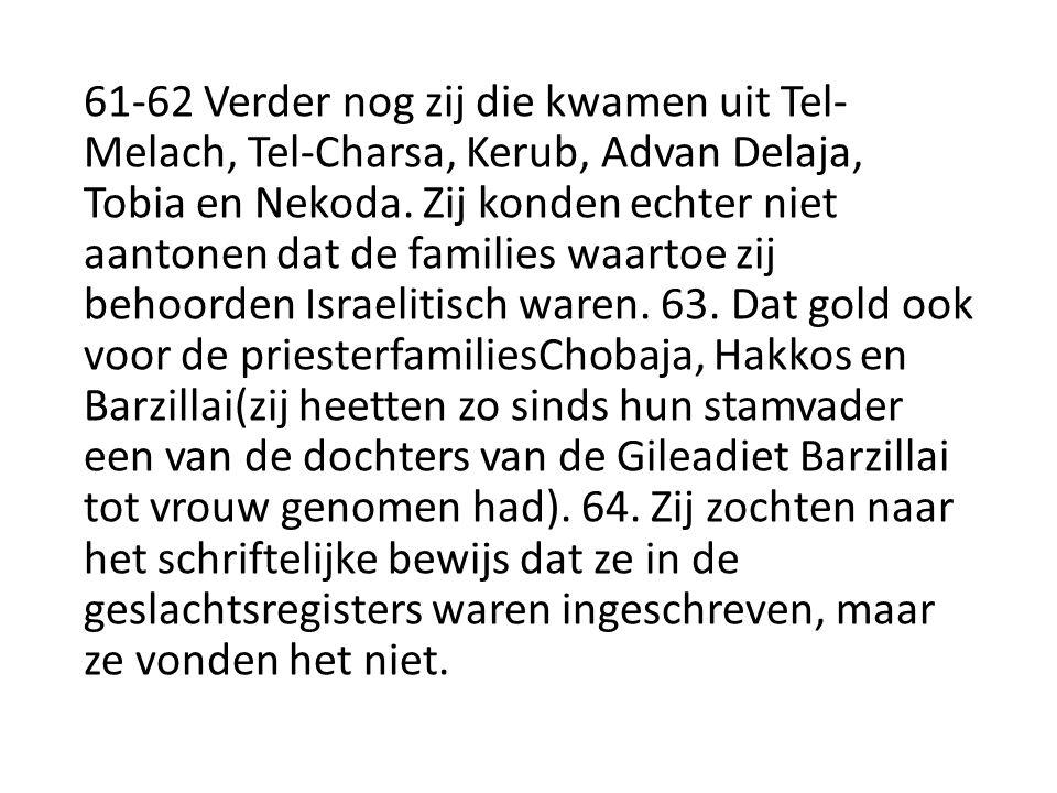 61-62 Verder nog zij die kwamen uit Tel- Melach, Tel-Charsa, Kerub, Advan Delaja, Tobia en Nekoda.