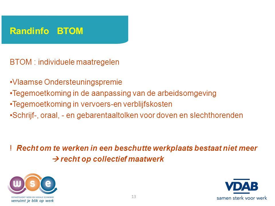 13 Randinfo BTOM BTOM : individuele maatregelen Vlaamse Ondersteuningspremie Tegemoetkoming in de aanpassing van de arbeidsomgeving Tegemoetkoming in vervoers-en verblijfskosten Schrijf-, oraal, - en gebarentaaltolken voor doven en slechthorenden .