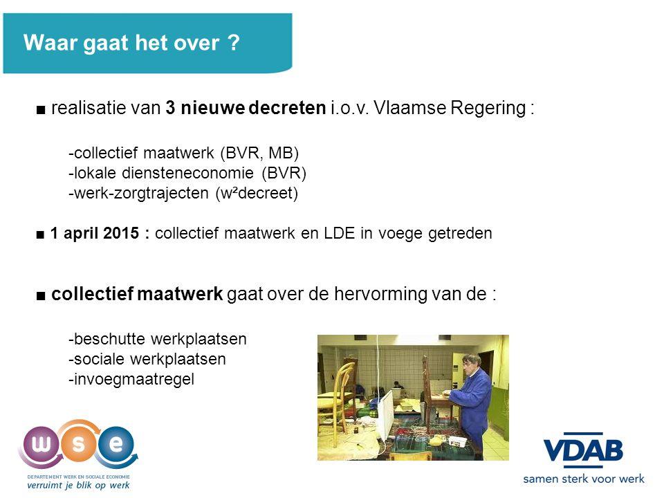 2 Waar gaat het over ? ■ realisatie van 3 nieuwe decreten i.o.v. Vlaamse Regering : -collectief maatwerk (BVR, MB) -lokale diensteneconomie (BVR) -wer