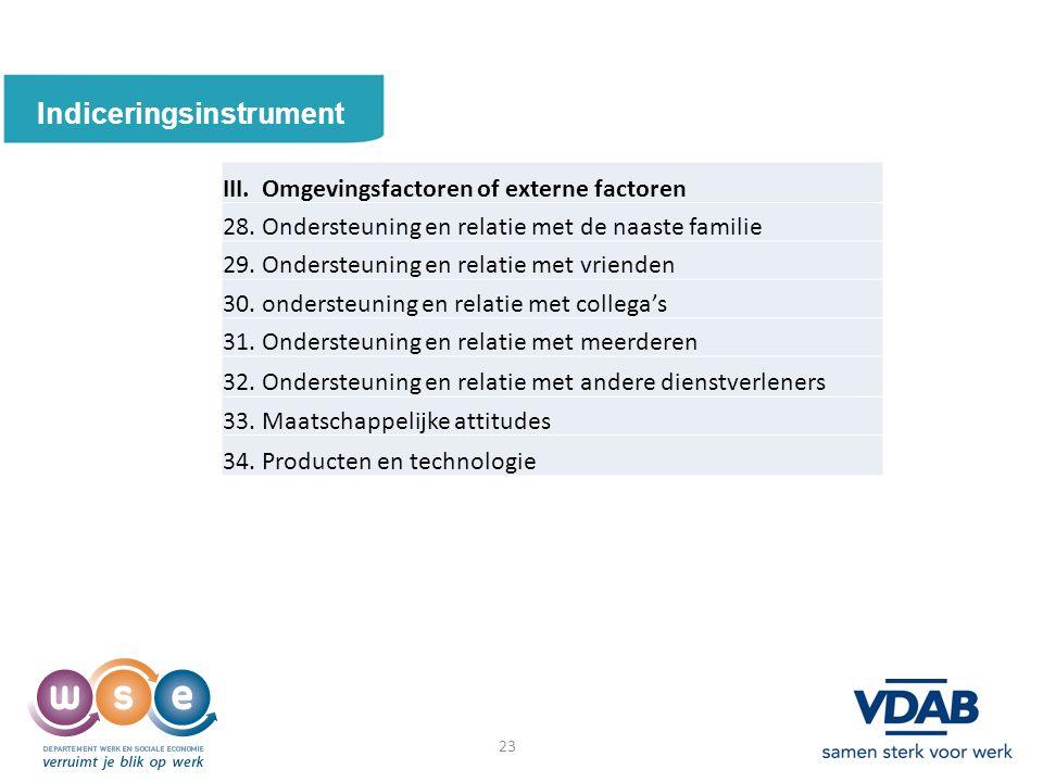23 Indiceringsinstrument 23 III. Omgevingsfactoren of externe factoren 28.