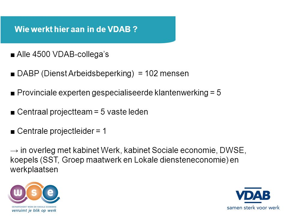 ■ De VDAB is arbeidsmarktregisseur en : beslist over : 1.