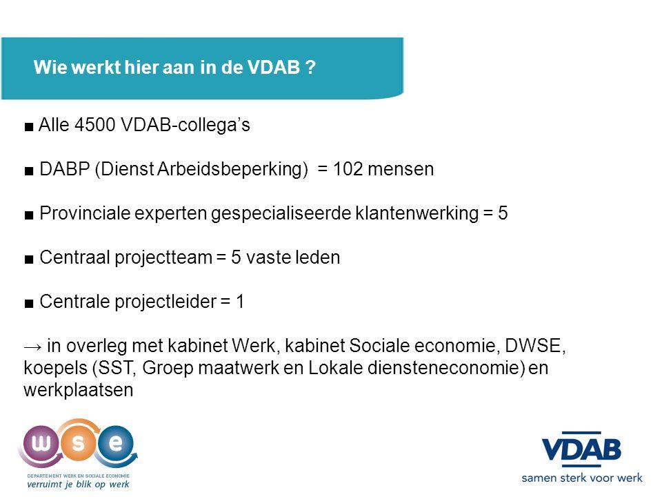 Wie werkt hier aan in de VDAB ? ■ Alle 4500 VDAB-collega's ■ DABP (Dienst Arbeidsbeperking) = 102 mensen ■ Provinciale experten gespecialiseerde klant