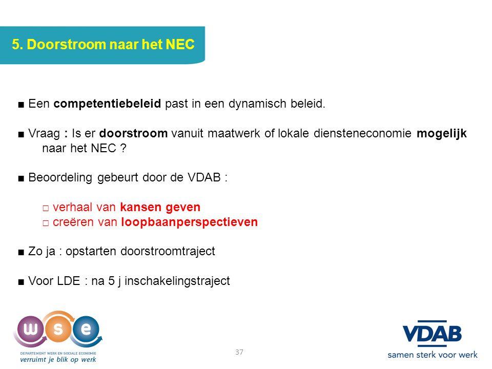 37 5. Doorstroom naar het NEC ■ Een competentiebeleid past in een dynamisch beleid. ■ Vraag : Is er doorstroom vanuit maatwerk of lokale dienstenecono