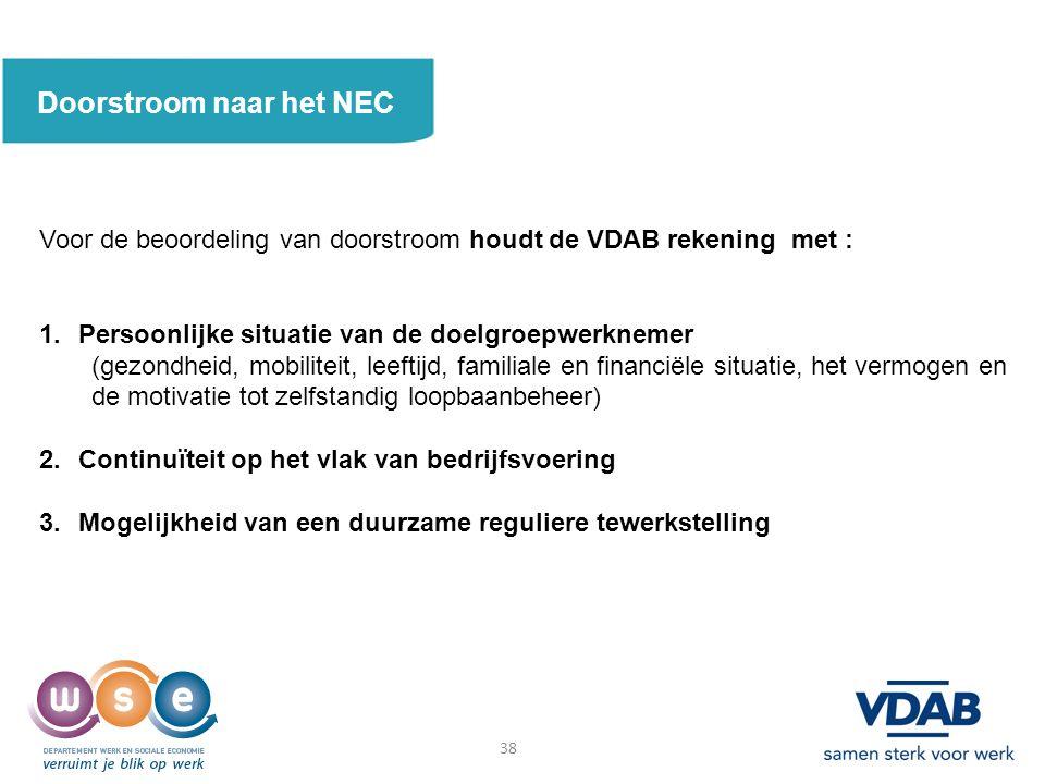 Doorstroom naar het NEC Voor de beoordeling van doorstroom houdt de VDAB rekening met : 1.Persoonlijke situatie van de doelgroepwerknemer (gezondheid, mobiliteit, leeftijd, familiale en financiële situatie, het vermogen en de motivatie tot zelfstandig loopbaanbeheer) 2.Continuïteit op het vlak van bedrijfsvoering 3.Mogelijkheid van een duurzame reguliere tewerkstelling 38