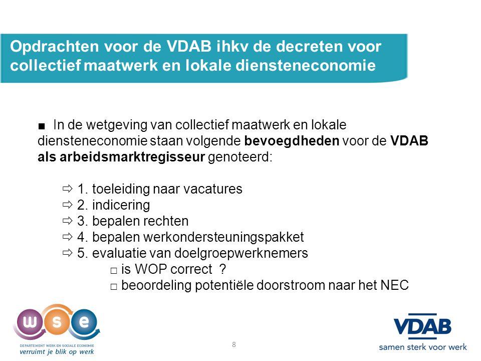 8 Opdrachten voor de VDAB ihkv de decreten voor collectief maatwerk en lokale diensteneconomie ■ In de wetgeving van collectief maatwerk en lokale diensteneconomie staan volgende bevoegdheden voor de VDAB als arbeidsmarktregisseur genoteerd:  1.
