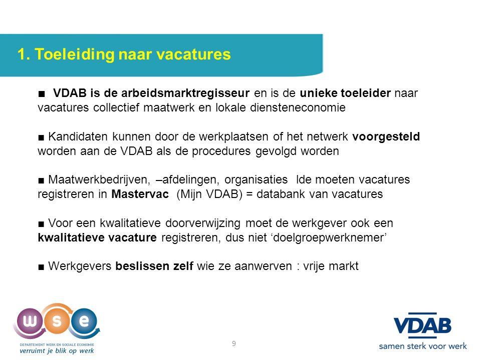 9 1. Toeleiding naar vacatures ■ VDAB is de arbeidsmarktregisseur en is de unieke toeleider naar vacatures collectief maatwerk en lokale dienstenecono