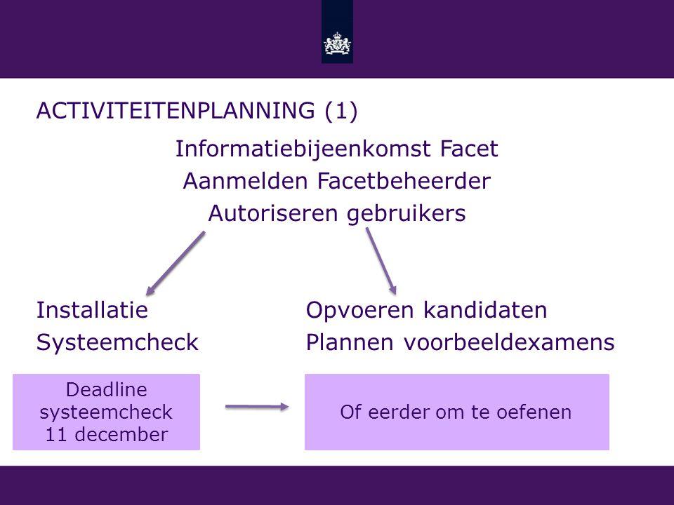 ACTIVITEITENPLANNING (1) Informatiebijeenkomst Facet Aanmelden Facetbeheerder Autoriseren gebruikers InstallatieOpvoeren kandidaten SysteemcheckPlanne
