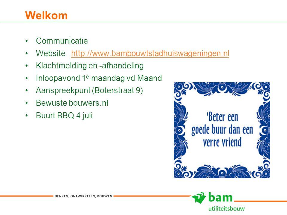 Welkom 3 Communicatie Website http://www.bambouwtstadhuiswageningen.nlhttp://www.bambouwtstadhuiswageningen.nl Klachtmelding en -afhandeling Inloopavond 1 e maandag vd Maand Aanspreekpunt (Boterstraat 9) Bewuste bouwers.nl Buurt BBQ 4 juli