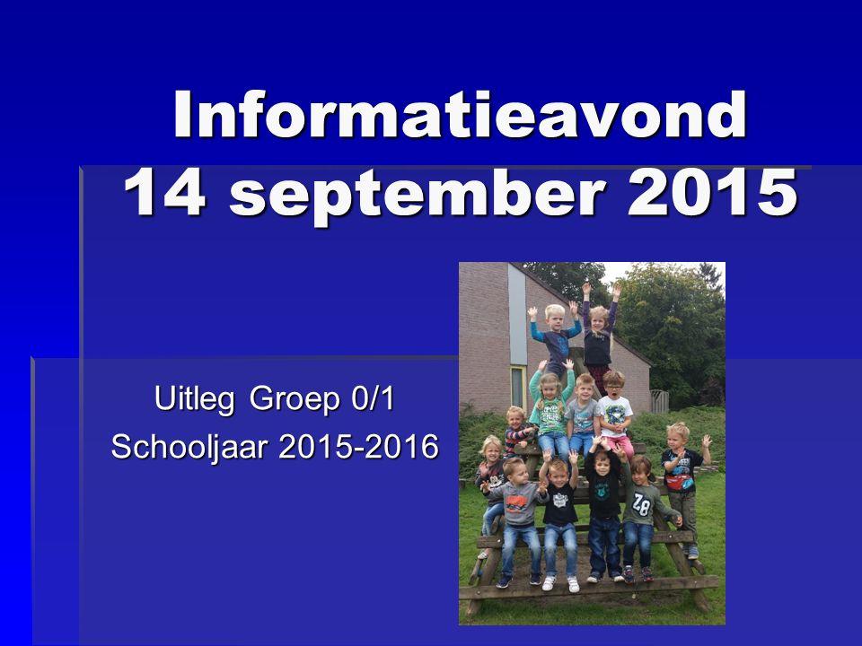 Informatieavond 14 september 2015 Uitleg Groep 0/1 Schooljaar 2015-2016