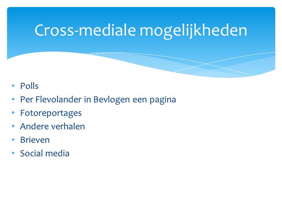 Cross-mediale mogelijkheden Polls Per Flevolander in Bevlogen een pagina Fotoreportages Andere verhalen Brieven Social media
