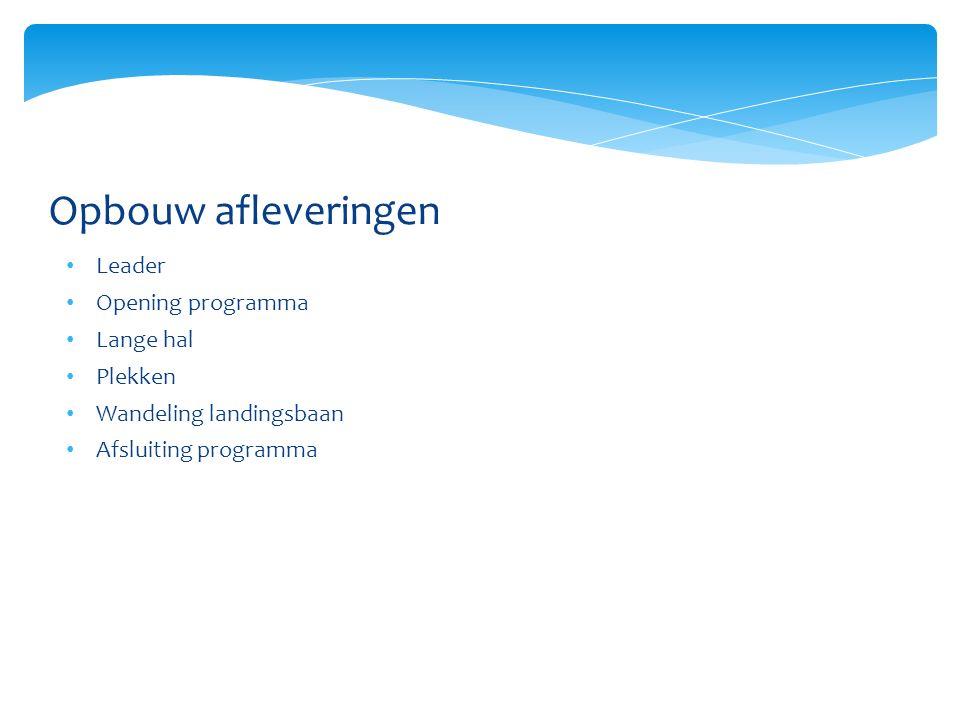 Opbouw afleveringen Leader Opening programma Lange hal Plekken Wandeling landingsbaan Afsluiting programma