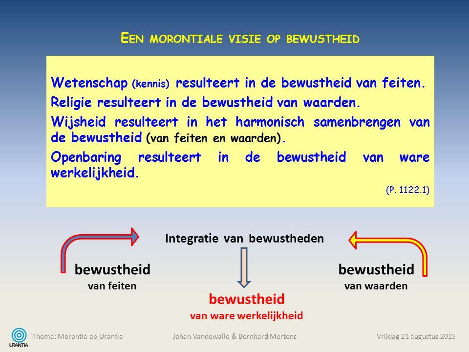 Thema: Morontia op Urantia Johan Vandewalle & Bernhard MertensVrijdag 21 augustus 2015 Wetenschap (kennis) resulteert in de bewustheid van feiten.