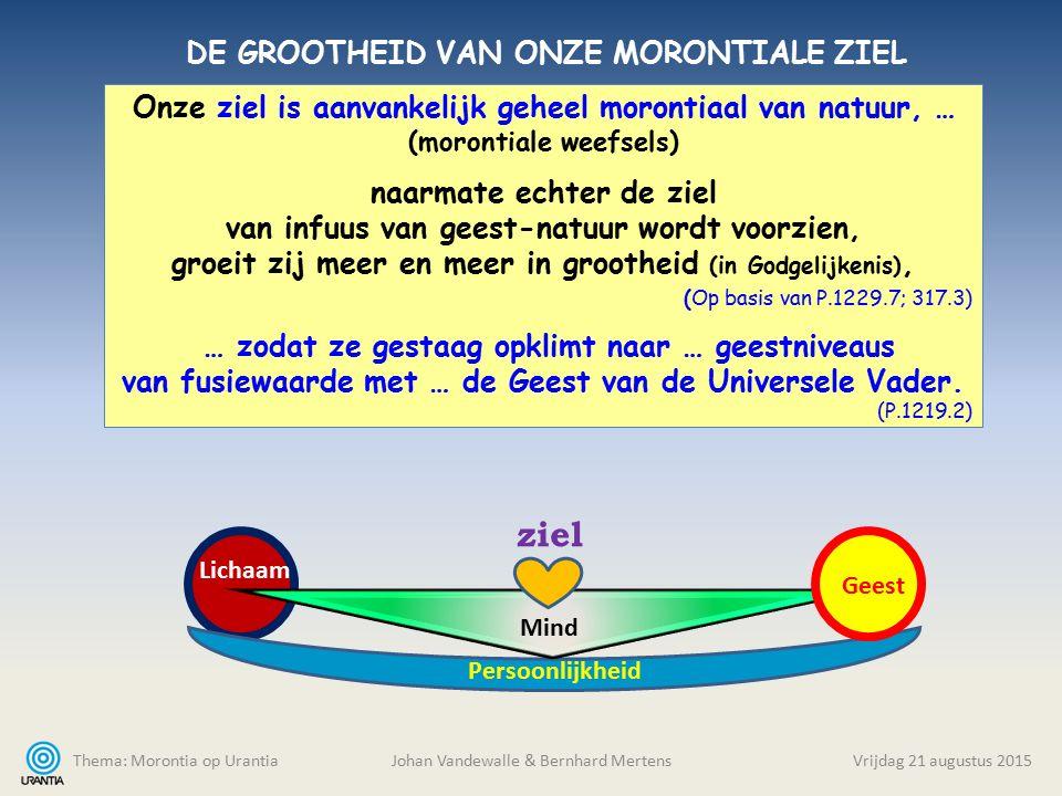 Thema: Morontia op Urantia Johan Vandewalle & Bernhard MertensVrijdag 21 augustus 2015 Onze ziel is aanvankelijk geheel morontiaal van natuur, … (moro