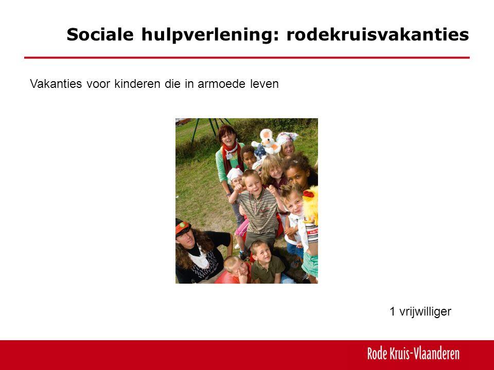 Sociale hulpverlening: rodekruisvakanties Vakanties voor kinderen die in armoede leven 1 vrijwilliger