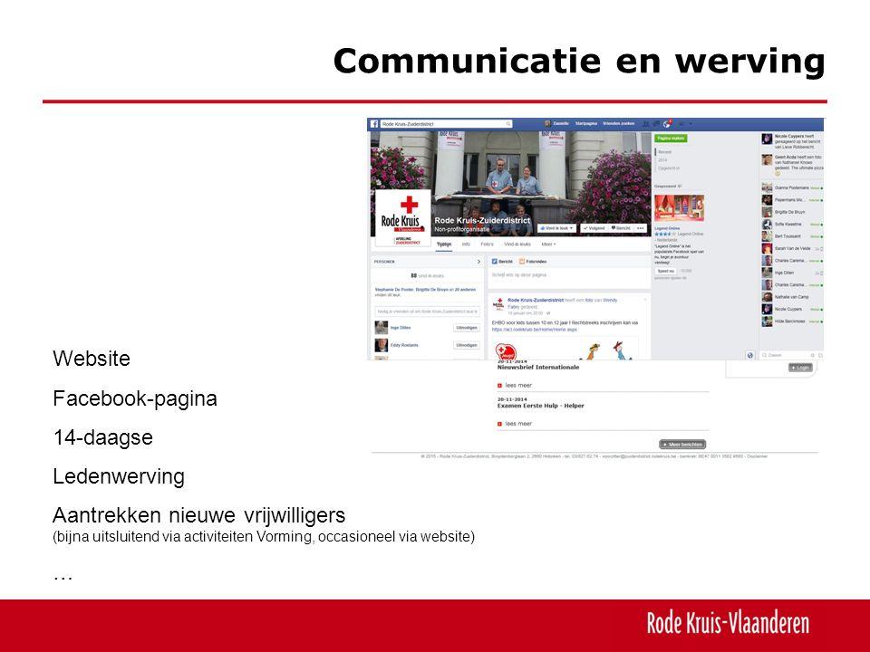 Communicatie en werving Website Facebook-pagina 14-daagse Ledenwerving Aantrekken nieuwe vrijwilligers (bijna uitsluitend via activiteiten Vorming, occasioneel via website) …