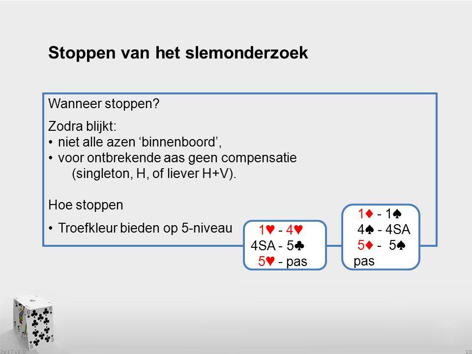 2e17 v2.0 10 Wanneer stoppen? Zodra blijkt: niet alle azen 'binnenboord', voor ontbrekende aas geen compensatie (singleton, H, of liever H+V). Hoe sto