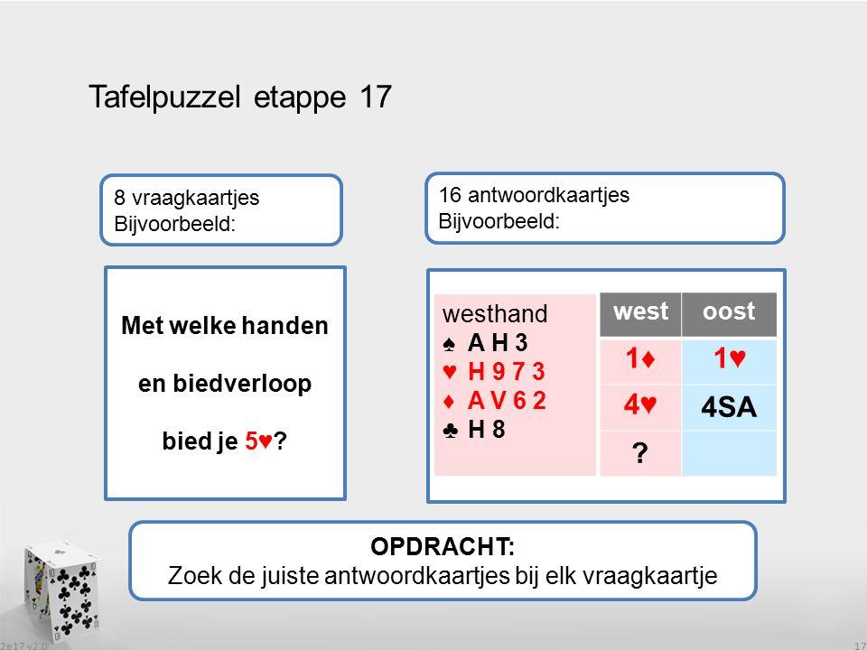 2e17 v2.0 17 Tafelpuzzel etappe 17 OPDRACHT: Zoek de juiste antwoordkaartjes bij elk vraagkaartje 8 vraagkaartjes Bijvoorbeeld: 16 antwoordkaartjes Bi