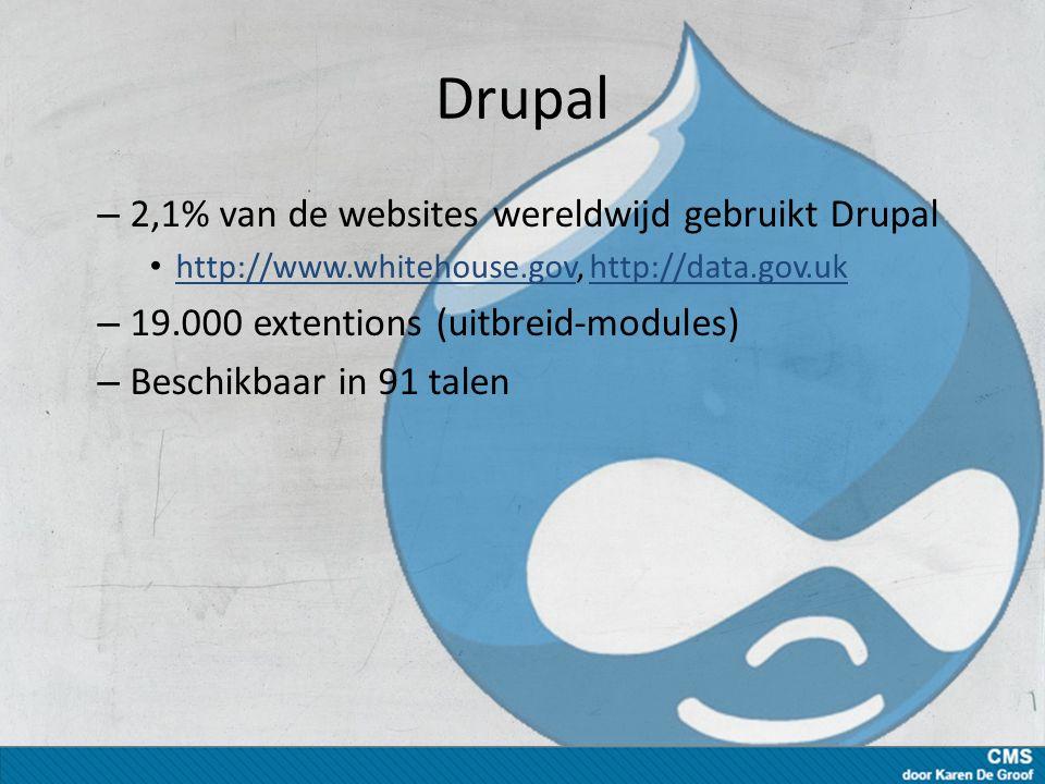 Drupal – 2,1% van de websites wereldwijd gebruikt Drupal http://www.whitehouse.gov, http://data.gov.uk http://www.whitehouse.govhttp://data.gov.uk – 19.000 extentions (uitbreid-modules) – Beschikbaar in 91 talen