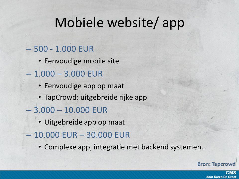 Mobiele website/ app – 500 - 1.000 EUR Eenvoudige mobile site – 1.000 – 3.000 EUR Eenvoudige app op maat TapCrowd: uitgebreide rijke app – 3.000 – 10.000 EUR Uitgebreide app op maat – 10.000 EUR – 30.000 EUR Complexe app, integratie met backend systemen… Bron: Tapcrowd