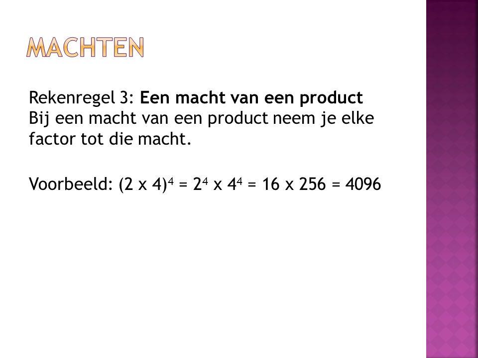 Rekenregel 3: Een macht van een product Bij een macht van een product neem je elke factor tot die macht. Voorbeeld: (2 x 4) 4 = 2 4 x 4 4 = 16 x 256 =