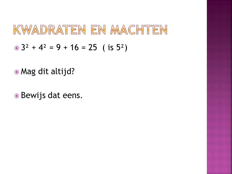  3² + 4² = 9 + 16 = 25 ( is 5²)  Mag dit altijd?  Bewijs dat eens.