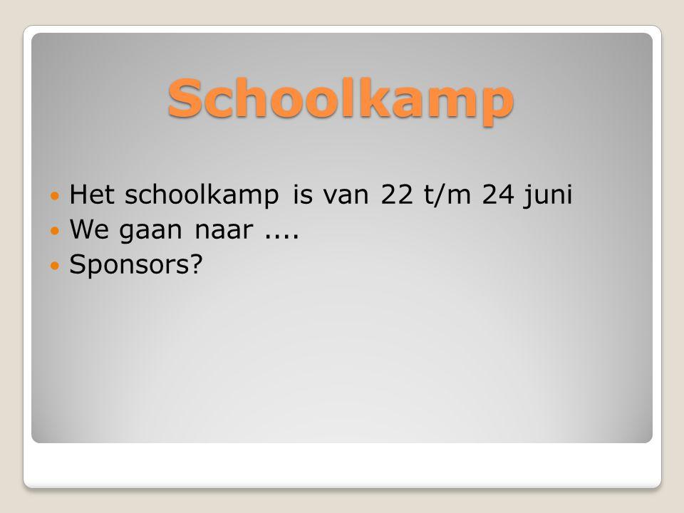 Schoolkamp Het schoolkamp is van 22 t/m 24 juni We gaan naar.... Sponsors?