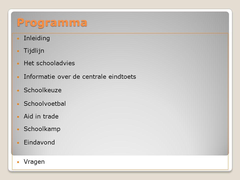 Programma Inleiding Tijdlijn Het schooladvies Informatie over de centrale eindtoets Schoolkeuze Schoolvoetbal Aid in trade Schoolkamp Eindavond Vragen