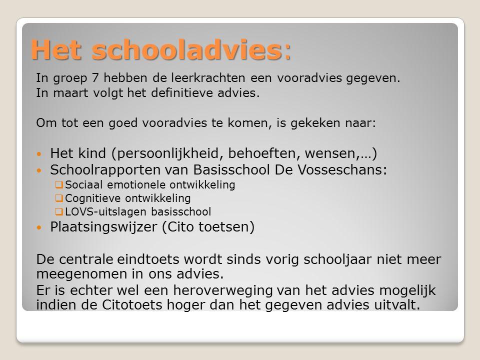 Het schooladvies: In groep 7 hebben de leerkrachten een vooradvies gegeven. In maart volgt het definitieve advies. Om tot een goed vooradvies te komen