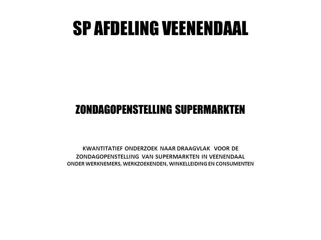 SP AFDELING VEENENDAAL ZONDAGOPENSTELLING SUPERMARKTEN KWANTITATIEF ONDERZOEK NAAR DRAAGVLAK VOOR DE ZONDAGOPENSTELLING VAN SUPERMARKTEN IN VEENENDAAL ONDER WERKNEMERS, WERKZOEKENDEN, WINKELLEIDING EN CONSUMENTEN