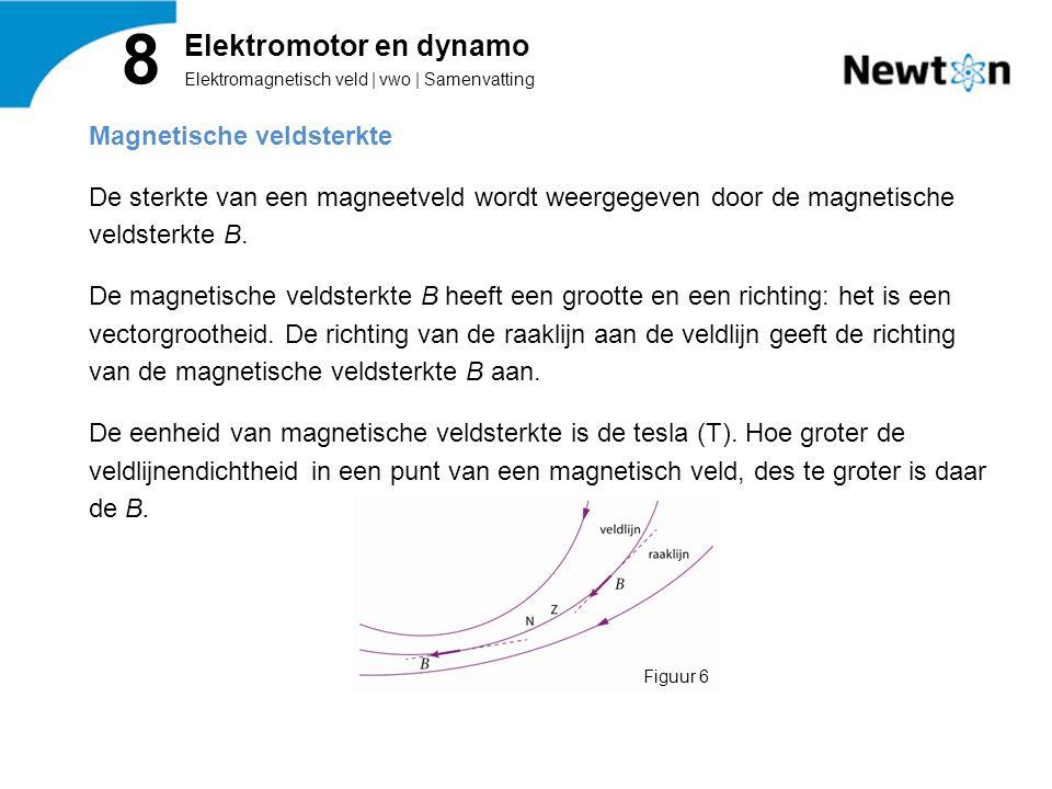 Magnetische veldsterkte De sterkte van een magneetveld wordt weergegeven door de magnetische veldsterkte B.
