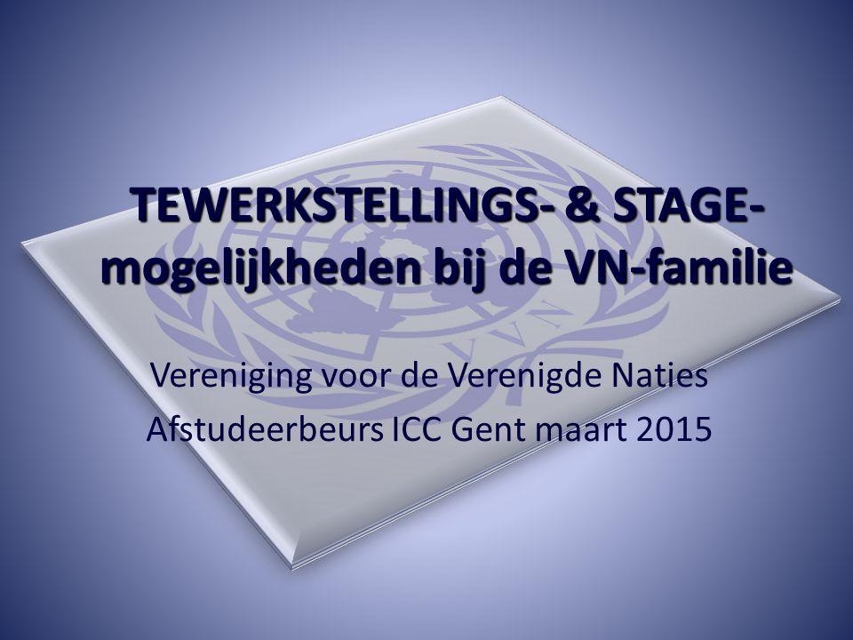 TEWERKSTELLINGS- & STAGE- mogelijkheden bij de VN-familie Vereniging voor de Verenigde Naties Afstudeerbeurs ICC Gent maart 2015