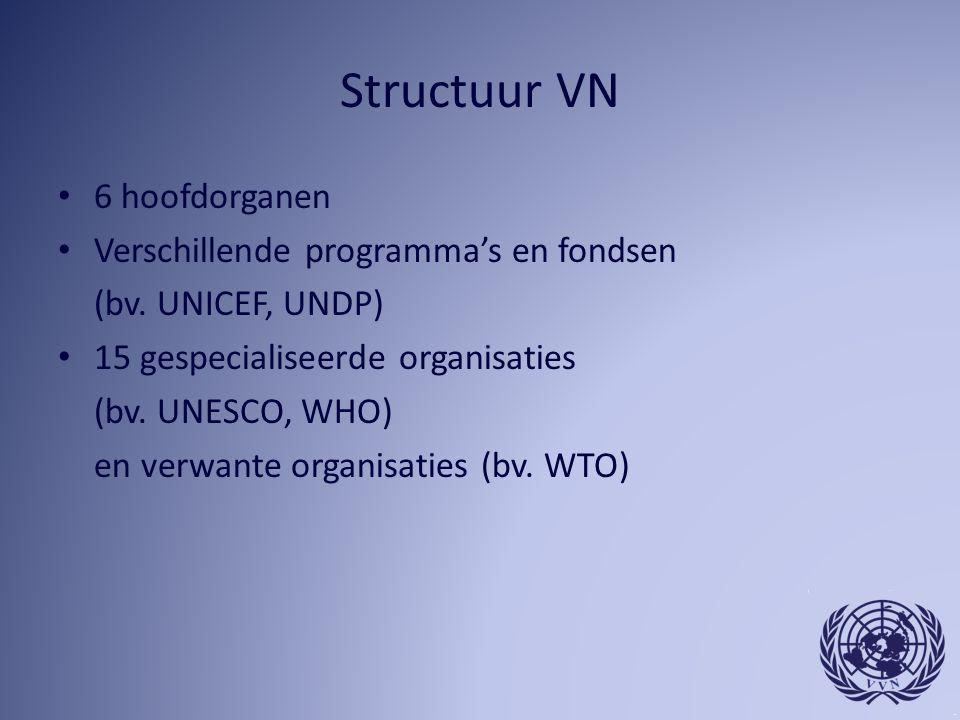 Structuur VN 6 hoofdorganen Verschillende programma's en fondsen (bv.