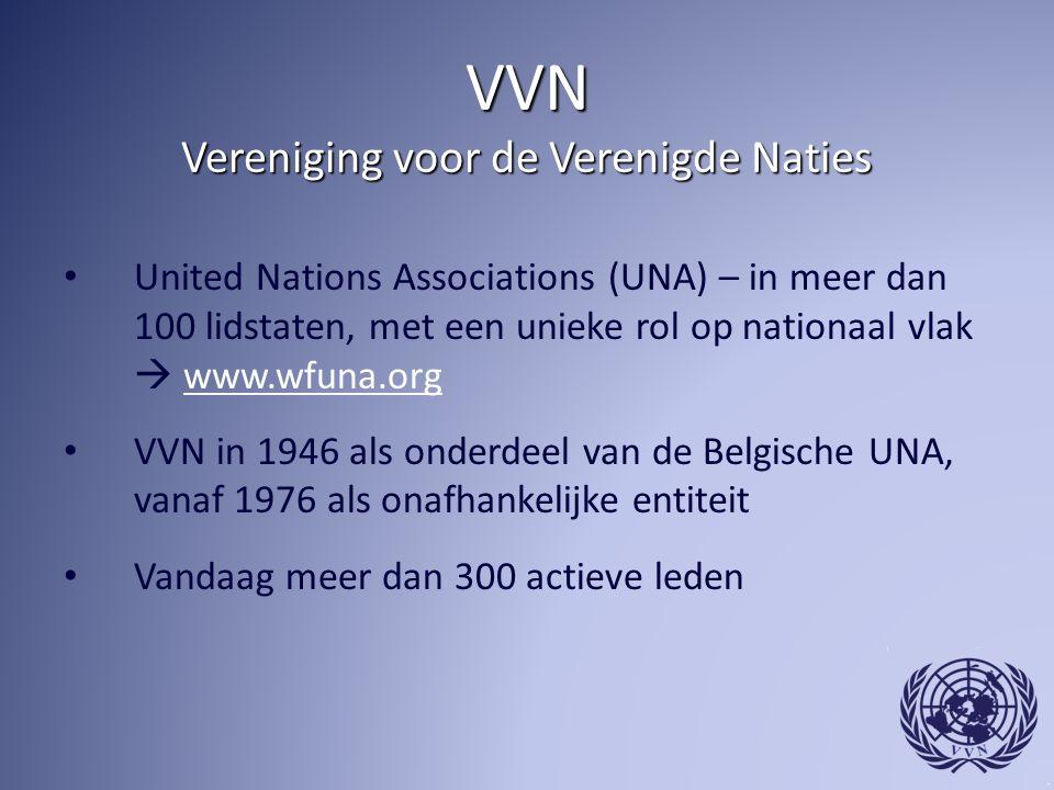 VVN Vereniging voor de Verenigde Naties United Nations Associations (UNA) – in meer dan 100 lidstaten, met een unieke rol op nationaal vlak  www.wfuna.orgwww.wfuna.org VVN in 1946 als onderdeel van de Belgische UNA, vanaf 1976 als onafhankelijke entiteit Vandaag meer dan 300 actieve leden