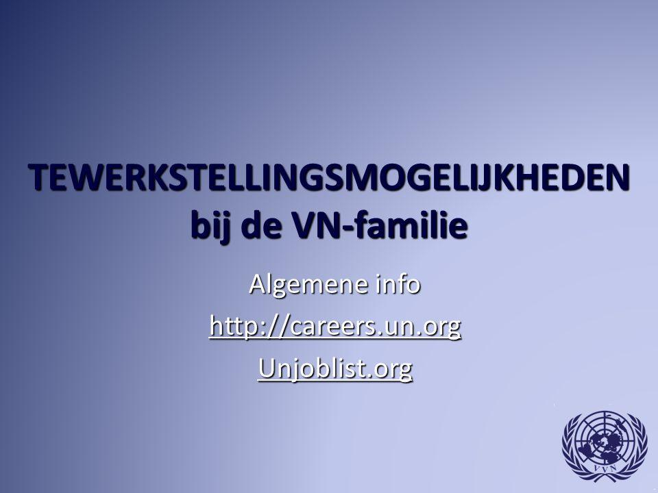 TEWERKSTELLINGSMOGELIJKHEDEN bij de VN-familie Algemene info http://careers.un.org Unjoblist.org