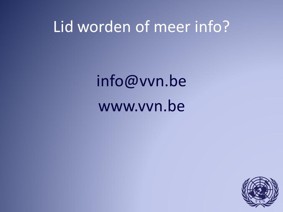 Lid worden of meer info info@vvn.be www.vvn.be