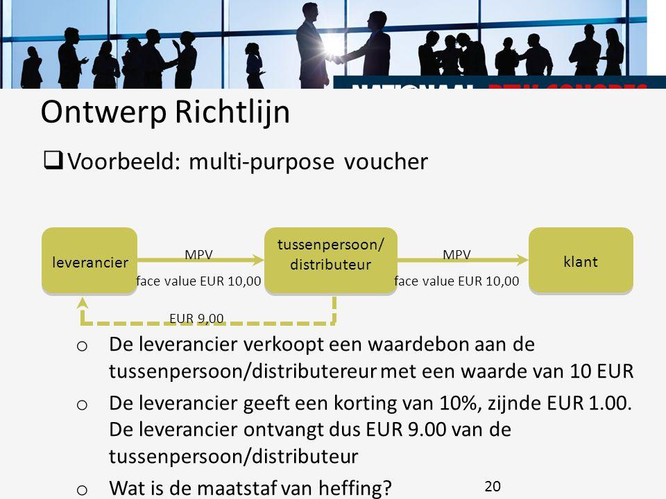  Voorbeeld: multi-purpose voucher o De leverancier verkoopt een waardebon aan de tussenpersoon/distributereur met een waarde van 10 EUR o De leveranc
