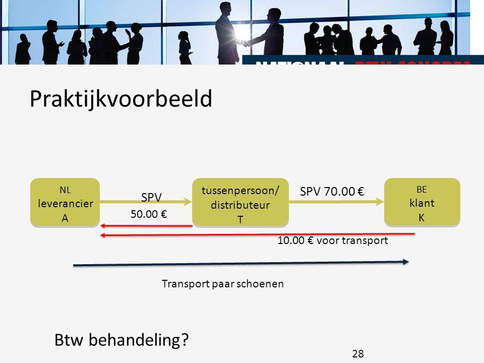 o1o1 28 BE klant K BE klant K NL leverancier A NL leverancier A tussenpersoon/ distributeur T tussenpersoon/ distributeur T SPV SPV 70.00 € Transport