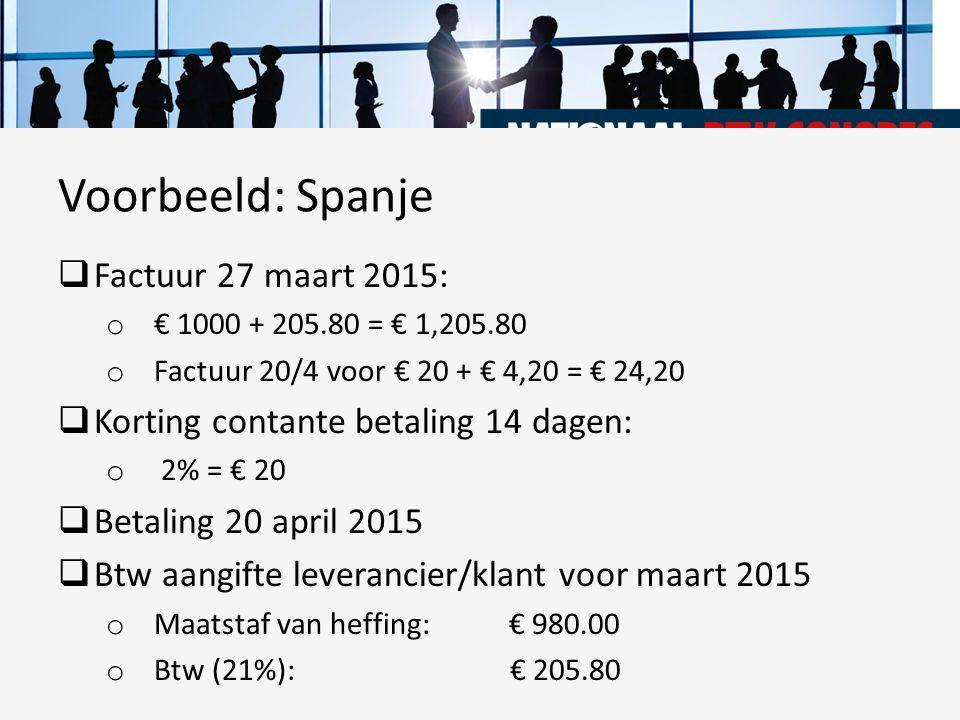  Factuur 27 maart 2015: o € 1000 + 205.80 = € 1,205.80 o Factuur 20/4 voor € 20 + € 4,20 = € 24,20  Korting contante betaling 14 dagen: o 2% = € 20
